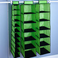 3-Pc Green Hanging Closet Storage Organizer Clothes Shoes Crafts Space Saver