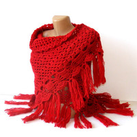 hand crocheted women shawl, Red shawl, red, crochet trends, winter trend, spring trends, stole, poncho, woman, Gift ideas, for her, gift