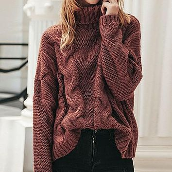 Women Jumpers Sweater Female Casual Turtleneck Loose Pullover Sweater Chic Cable Sweater Knit Tops