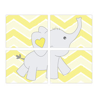 Print or Canvas, Baby Elephant Chevron Background - Set of 4 - Personalize it!