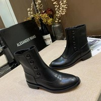 Alexander Wang   Trending Women Black Leather Side Zip Lace-up Ankle Boots Shoes High Boots