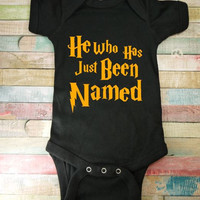 Harry Potter Onesuit, - He Has Just Been Named, - Funny Baby Shower Gift