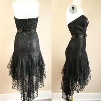 SALE - See Through - Black Lace - Rhinestone - Sequin - Sweetheart Neckline - Fitted Wiggle - Drop Waist Ruffle - Formal -  Party Dress