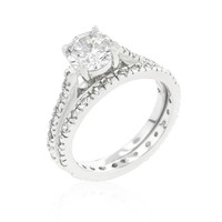 Glistening Engagement Ring Set, size : 09
