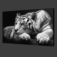 Animal Black and White Tiger Canvas Print Painting Modern Wall Art Home Decoration