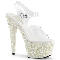 Pearl An Rhinestone Encrusted Ankle Strap Stripper Shoe