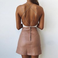 LAX Strappy Backless Bodysuit