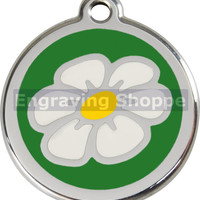 Green Daisy Enamel and Stainless Steel Personalized Custom Pet Tag with LIFETIME GUARANTEE ID Tag Dog Tags and Cat Tags Free Engraving