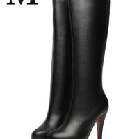 2015 New Fashion spring Autumn red bottoms boots Women high heel shoes waterproof suede leather High Quality  J3387