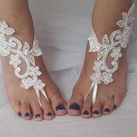 barefoot sandals, bridal accessories, beads ivory,lace, wedding sandals, shoes, free shipping! bridal sandals, bridesmaids, wedding gifts.