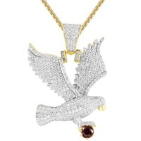 Men's Flying Eagle Created Ruby IcedOut .925 Gold Finish Pendant