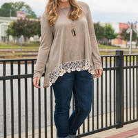 Lace Around The Rosie Top, Taupe