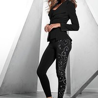 Fish tail jacket, seamless cami, jeweled legging, heel
