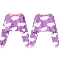 White Cloud Printed Crop Sweatshirt