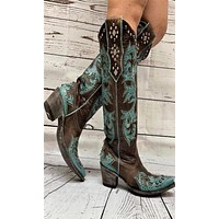 Old Gringo Ilona Tall Boots~ Chocolate w/Turquoise