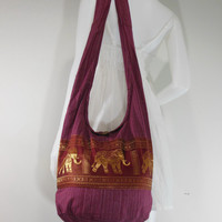 Fuchsia Hill Tribe Elephants Cross body  bag,Shoulder bag,Hippie,Cotton, Boho Hobo , Messenger Bag,Purse E-HG09