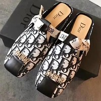 Tiktoki1 Dior Women Shoes Slippers Letters print Bow Shoes White