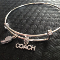 Coach and Whistle Charms on Silver Expandable Adjustable Wire Bangle Bracelet Stacking Handmade Trendy Team Gift