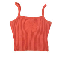 90s Orange Daisy Sweater Material Square Neck Crop Top // It's Our Time // Size Medium