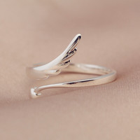 925 sterling silver wings opening ring ,personalized fashion ring,a perfect gift