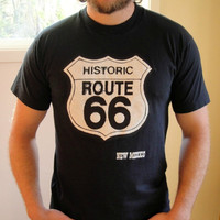 25% Sale 90's Black Route 66 Graphic Tee. Biker T-shirt. New Mexico. Unisex. Medium Large