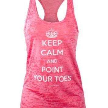 Covet Dance Clothing - Keep Calm and Point Your Toes - Burnout Tank, Shocking Pink, Small