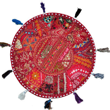 """Beautiful 22"""" Decorative Round Floor Pillow in Red Cushion round embroidered Bohemian floor cushion pouf Vintage Indian Foot Stool Bean Bag"""