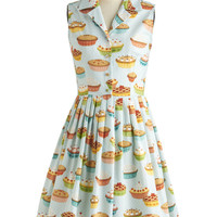 ModCloth Vintage Inspired Long Sleeveless Shirt Dress You're In Luck Dress in Pie