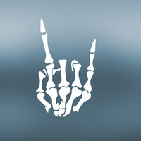 Skeleton Hand Decal | Rock On Decal | Peace Decal | Hard Rock Decal | Trucker Decal | Yeti Tumbler Cooler Decal | MacBook | 389