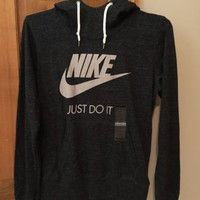 Nike Rally Just Do It Funnel Neck Pullover Hoodie Swoosh Logo 678385 Engineered
