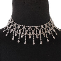 """12"""" silver crystal choker collar necklace prom bridal pageant 1.80"""" wide"""