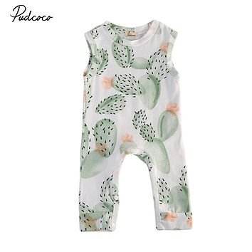 Summer cactus Baby Clothing Toddler Baby Boy Girl Kids Cotton Floral Romper Jumpsuit Clothes Outfit
