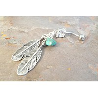 Silver Feathers Turquoise Belly Button Jewelry Ring