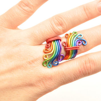 Rainbow ring, Gay pride, Wire wrap ring, Gay ring, LGBT jewelry, Lesbian gift, Pride jewelry,Love wins, Gay rights,Lesbian couple,Nobias Art