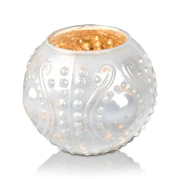 Vintage Mercury Glass Vase and Candle Holder (3.25-Inches, Small Josephine Design, Pearl White) - Use with Tea lights - for Home Décor, Parties and Weddings