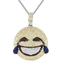New Laughing with Tears Joy Emoji Custom Circle Pendant