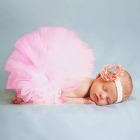 Newborn Fluffy Pink Tutu Photo Prop with Headband!