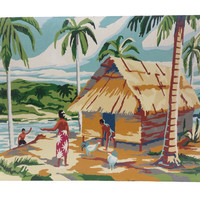 Vintage Paint by Number, Tropical Island Ocean Painting, 1950s South Seas PBN, Tiki Hut Decor, Beach Palm Trees Art, Tahiti, Polynesian
