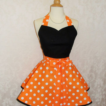 Classic Sweetheart Pinup Apron in Orange and White Polka Dots with Black Accents Everyday Kitchen Apron Halloween Apron - Ready to Ship
