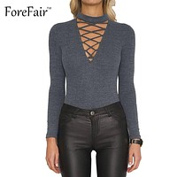 Autumn Winter V Neck Long Sleeve Cotton Knited Bodysuit Casual Slim Rompers Women Tops Sexy Hollow Out Skinny Jumpsuit