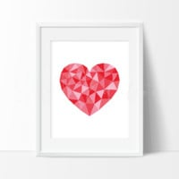 Red Geometric Low Poly Heart