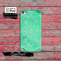 Green Mandala Line Art Indian Watercolor Tumblr Case iPod Touch 4th Generation or iPod Touch 5th Generation or iPod Touch 6th Gen Rubber