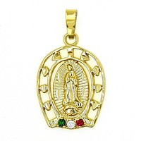 Gold Layered 5.184.002 Religious Pendant, Guadalupe Design, with White and Emerald Cubic Zirconia, Polished Finish, Golden Tone