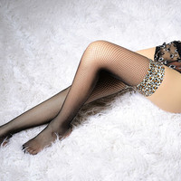 Women Sexy Lace Top Sheer thigh high stockings nice fashion with  leopard mesh side straps