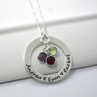 Personalized Mother Grandmother Hand-Stamped Necklace- Sterling Silver Washer with Birthstones