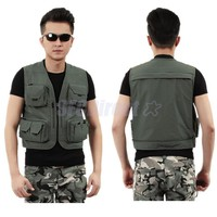 Men's Fishing Photography Vest 4 Pockets Breathable Mesh Lining for Travel, Sports, Camping, Hunting, Rock Climbing