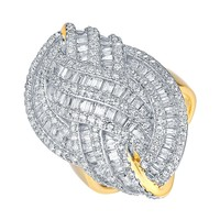 Gold Finish Wedding Ring Sterling Silver Cubic Zirconia Bridal Engagement New