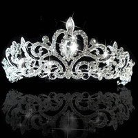 New Fashion Tiara and Crown wedding crown princess crown For Wedding bride quinceanera tiaras bridal headpiece (Color: White)