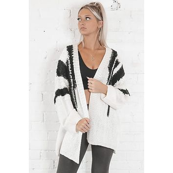 Better Off Off White Abstract Cardigan