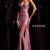 Sequined Sweetheart Gown by Sherri Hill